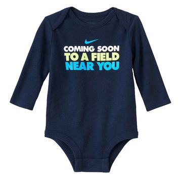 Nike ''Coming Soon To a Field Near You'' Bodysuit - Baby Boy, Size: