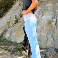 malibu baby blue lace waist yoga pants