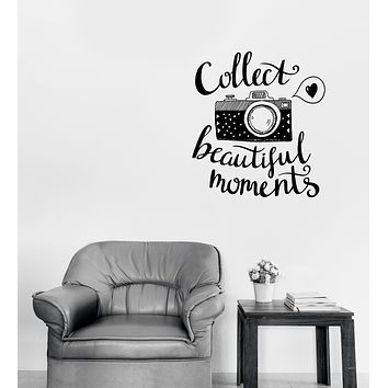 Wall Vinyl Decal Retro Photo Camera with Words Lettering Collect Moments Unique Gift (n1152)
