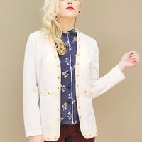 Antique white, vintage studded blazer with wooly knit trim | shopcuffs.com