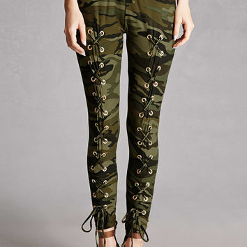 Lace-Up Camo Print Pants