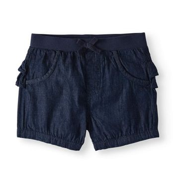 Baby Girls' Solid Ruffle Back Shorts - Walmart.com