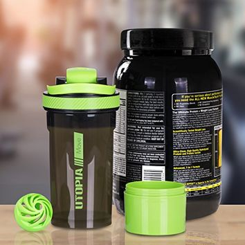 Classic Protein Mixer Shaker Bottle (24-Ounce Bottle) with Twist and Lock Protein Box Storage - Flip Cap and Tapered Spout in Clear Green and Black - by Utopia Home