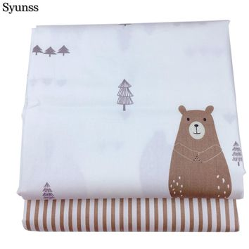 Syunss Bear Stripe Printed Twill Cotton Fabric DIY Handmade Sewing Patchwork Baby Cloth Bedding Textile Quilting Tilda Tissus