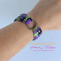 Woven Bracelet, Honesty, Beach Accessories, Jewelry, Crochet Bracelet, Purple and Green Woven Jewelry, Summer Accessories