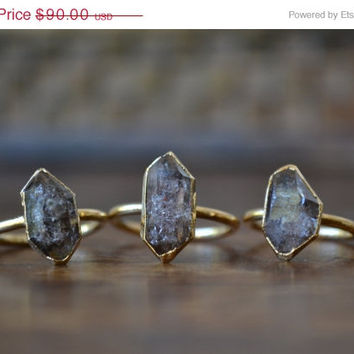 ON SALE HERKIMER ///Dainty Double terminated Crystal Quartz Ring /// Gold