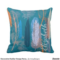 Decorative Feather Design Personalized Throw Pillow