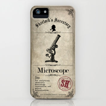 Sherlock Holmes Inventory - Microscope iPhone & iPod Case by VectoriaDesigns