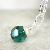 May Birthstone Necklace Charm, Sterling Silver and Emerald Green Crystal, 8mm