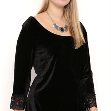 Plus Size Velvet Ballet Top with Lace Trim Three Quarter Sleeves