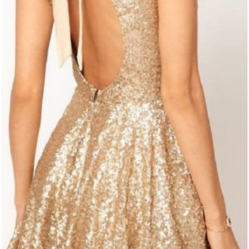 PEAPUF3 hot shining backless bow sequins dress