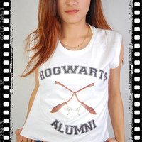 New Hogwarts Alumni Harry Potter Vibrating Broom Nimbus 2000 Punk Rock Vintage Crop Women Tank Top Vest Singlet T-shirt S M L