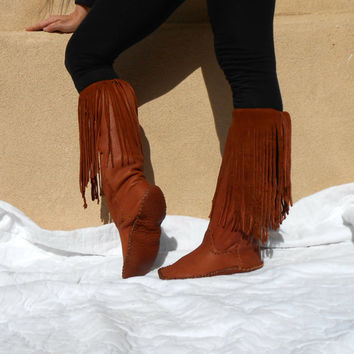 Fringe Moccasin Boots, Tall Leather Mocs, Handmade, Hand Sewn, Native American, Mountain Man, Rendezvous, Boho Fashion, Earthing, Grounding