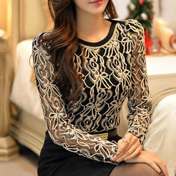 2015 New Arrival Women Clothing Korean Women Elegant Vintage Female Shirt Plus Size Long Sleeve Black Lace Chiffon Blouse = 1958157188