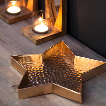 Hammered Gold Star Dish