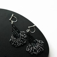 Black And Silver Color Beaded Skirt Screw-On Non Pierced Earrings