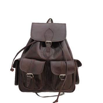 SALE - Brown Leather Backpack Medium satchel bag Handmade Soft Leather School College Travel Picnic Weekend bag