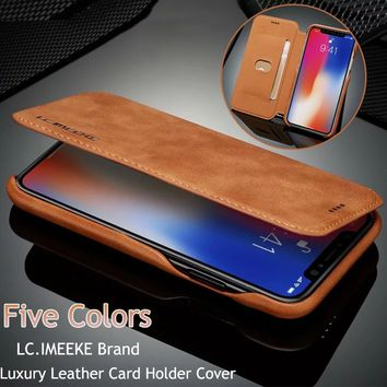 Business Retro PU Leather Wallet Case Stand Holster Cover with Card Slots for Samsung Galaxy S8 S8 Plus Note 8 S9 Plus IPhone 6