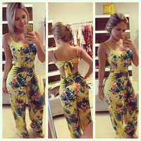 Summer New Fashion Women Sexy Backless Floral Printed Jumpsuit Beach Rompers Cute Piece Pants S-XL = 1958491204