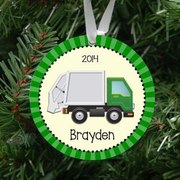 Personalized Garbage Truck Ornament Keepsake - Custom Made to Order