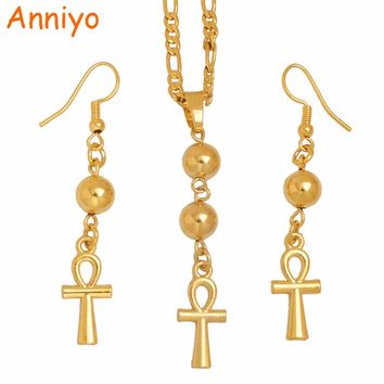 Anniyo Egyptian Ankh Cross Necklace Earrings for Woman,Gold Color African Egypt Hieroglyphs Jewelry Gifts,Crux Ansata #100006