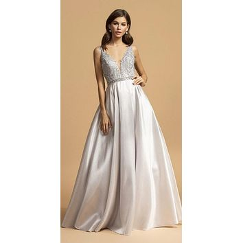 Silver Appliqued Bodice A-Line Long Prom Dress