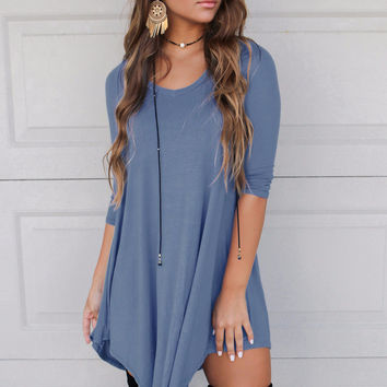 Maybe Baby Midnight Blue V-Neck Quarter Sleeve Dress