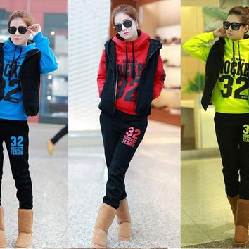 Sale New 2014 Women Fashion Cotton Hoodies Clothing Set Long Sleeve Blues Tracksuits Sweatshirt Sport Suit 3 Pcs = 1931883780