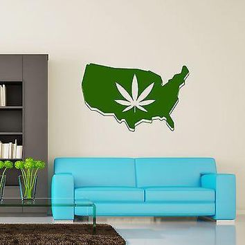 Wall Vinyl Marihuana Weed Leaf USA Map Atlas Decal Unique Gift (z3401)