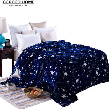 GGGGGO HOME,super soft microfiber flannel fabric throw blanket/bedspread,king/queen/full/twin size stars print blanket for home