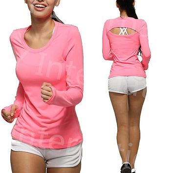 New 2016 Loose fitting womens sports fitness top thumb hole long sleeved crew neck garment Movimiento Camiseta