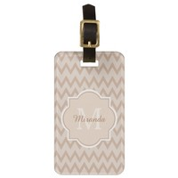 Trendy Tan Brown Chevron Zigzag Name and Monogram Tag For Bags