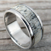 Mens Silver Titanium Deer Antler Wedding Ring