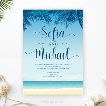 Beach wedding invitations PRINTED | Hawaiian wedding invites | Ocean wedding invitations | Destination wedding
