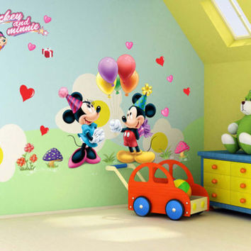 Cartoon Mickey and Minnie Mouse Decor Kids Baby Nursery Decals Wall Sticker the little prince decor