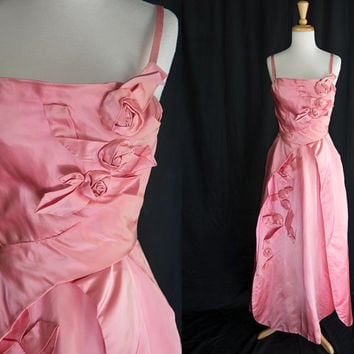 Vintage 1950s Pink Satin Rosettes Beauty Queen Party Dress Prom Formal