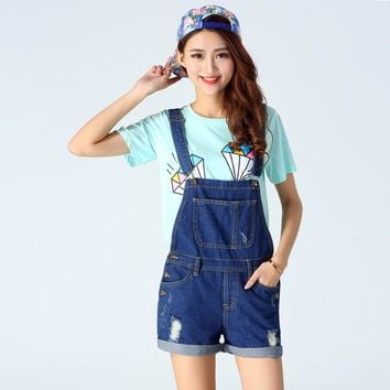 2017 New Fashion Spring Denim Shorts Ladies Blue Vintage Loose Solid Hole Ripped Jean Short Female Above Knee Overalls For Girl
