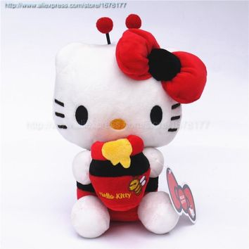 Adorable Hello Kitty Bee Dress Hold Candy Jar Plush Japan Anime Stuffed Kitten Cat Toys Dolls 7'' Brand New Red Pink