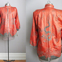 1930s Vintage Silk Chinese Jacket Embroidered Dragon Salmon Pink Red Medium