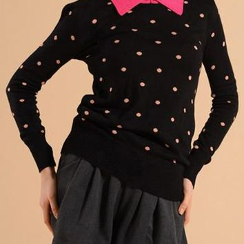 Womens Polka Dot Sweater - Pink Collar Feature