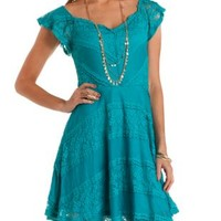 Flutter Sleeve Mixed Lace Skater Dress by Charlotte Russe