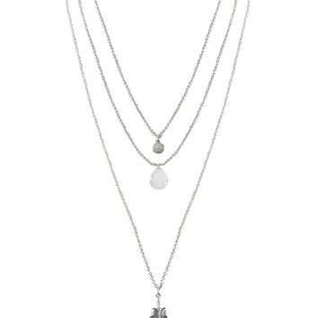 Humble Chic Layered Aura Pendant Necklace - Triple Multi-Strand Feather Jewel Long Chain