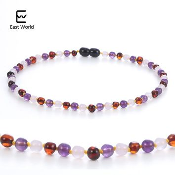 EAST WORLD Natural Amber Necklace for Kids Rose Quartz Amethyst Jewelry Cherry Baltic Amber Gemstone Child Sized Baby Necklace