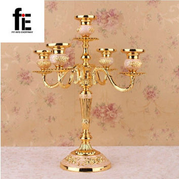 shiping Silver/Gold/Black/Bronze metal candle holder 5-arms candle stand 27cm tall wedding event candelabra candle stick