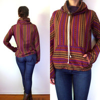 Handmade Ethnic Striped Cowl Neck Pullover Small Xs