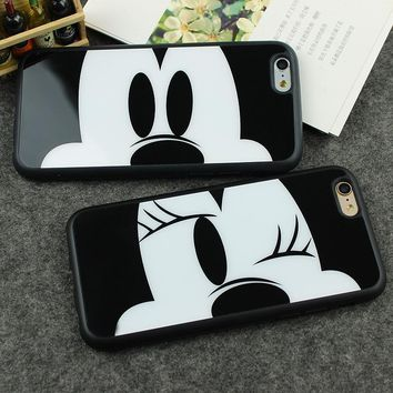 Case For iPhone 8 7 SE 5 5s 6 6s 7 plus Fashion Mickey Mouse Minnie Lovers couple soft TPU Silicone phone case cover funda Coque