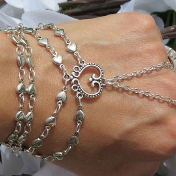 Bridal Slave Bracelet, Ring Bracelet, Hand Jewelry, Wedding, Love Bracelet, Heart Jewelry, Hippie, Bracelet, Heart, Silver, Custom Sized