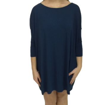 Majolica Blue Piko Tunic 3/4 Sleeve Top