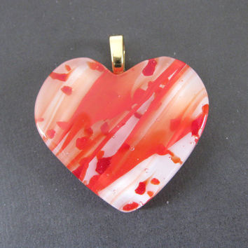 Heart Pendant with Red and White Fused Glass, Mother's Day Slide Jewelry - Heartbeat by mysassyglass