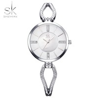 Shengke Unique Bracelet Watches Crystal Dial Woman Watches 2017 Brand Luxury Fashion Quartz Clock Gold Luxury Women Wristwatch